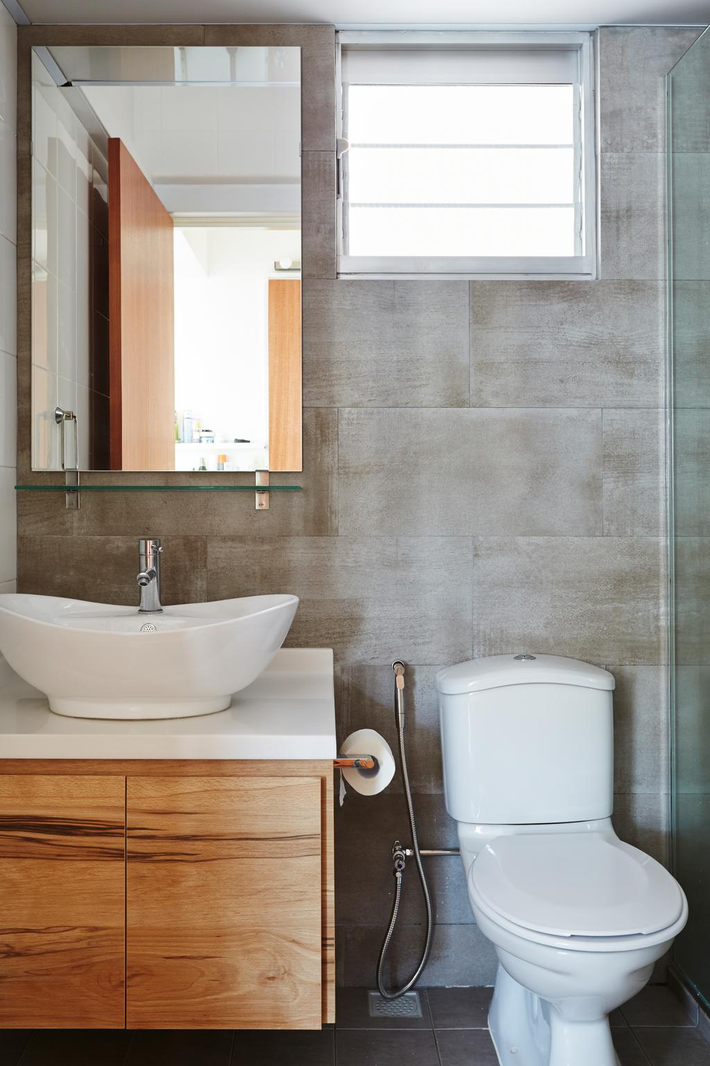 Scandinavian, HDB, Bathroom, Punggol Walk, Interior Designer, Fuse Concept, Tiles, Cement, Raw, Wooden Cabinet, Wood In Bathroom, Bathroom Sink, Bathroom Storage, Vanity Cabinet, Toilet