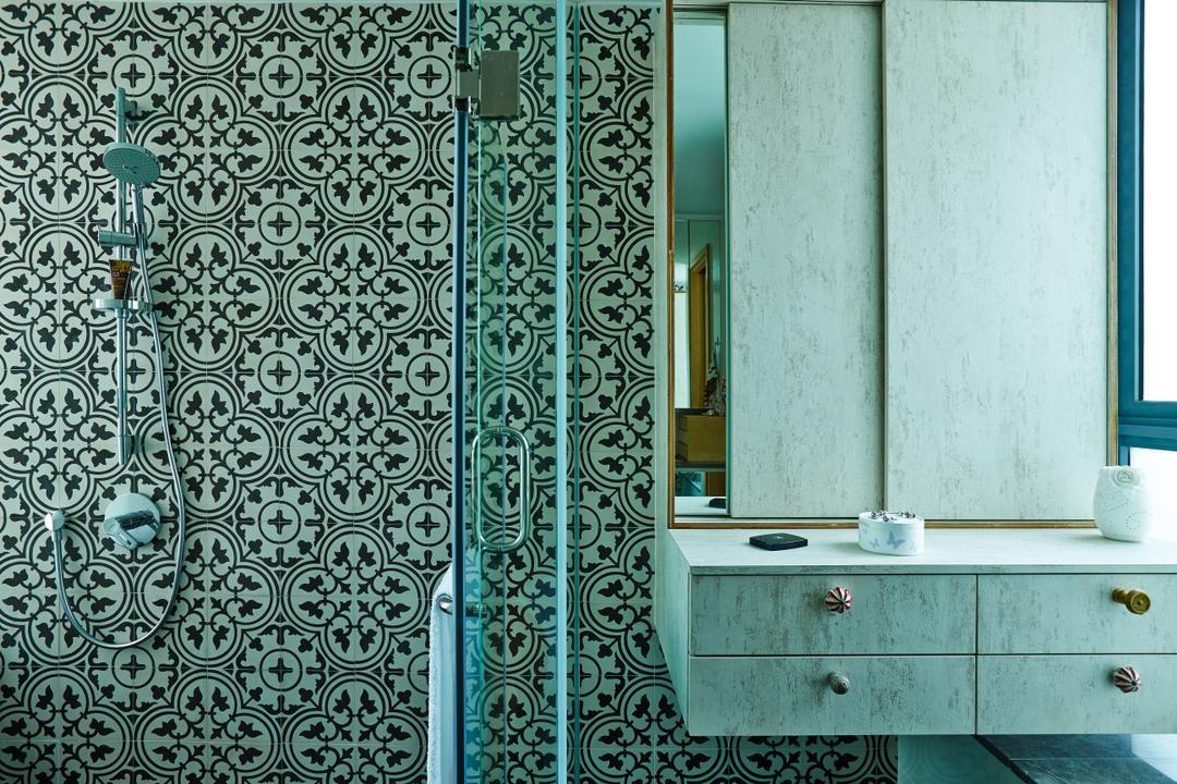 The Gale, Fuse Concept, Scandinavian, Bathroom, Condo, Peranakan Tiles, Patterened Tiles, Vanity Cabinet, Bathroom Storage, Bathroom Mirror, Wall Mirror, Shower, Partition