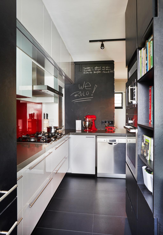 Eclectic, HDB, Kitchen, Sunset Way, Interior Designer, Fuse Concept, Tiles, Monochrome, Black, Chalkboard, Backsplash, Red Backsplash, Cabinet In Kitchen, Bookcase In Kitchen, Appliance, Dishwasher, Electrical Device