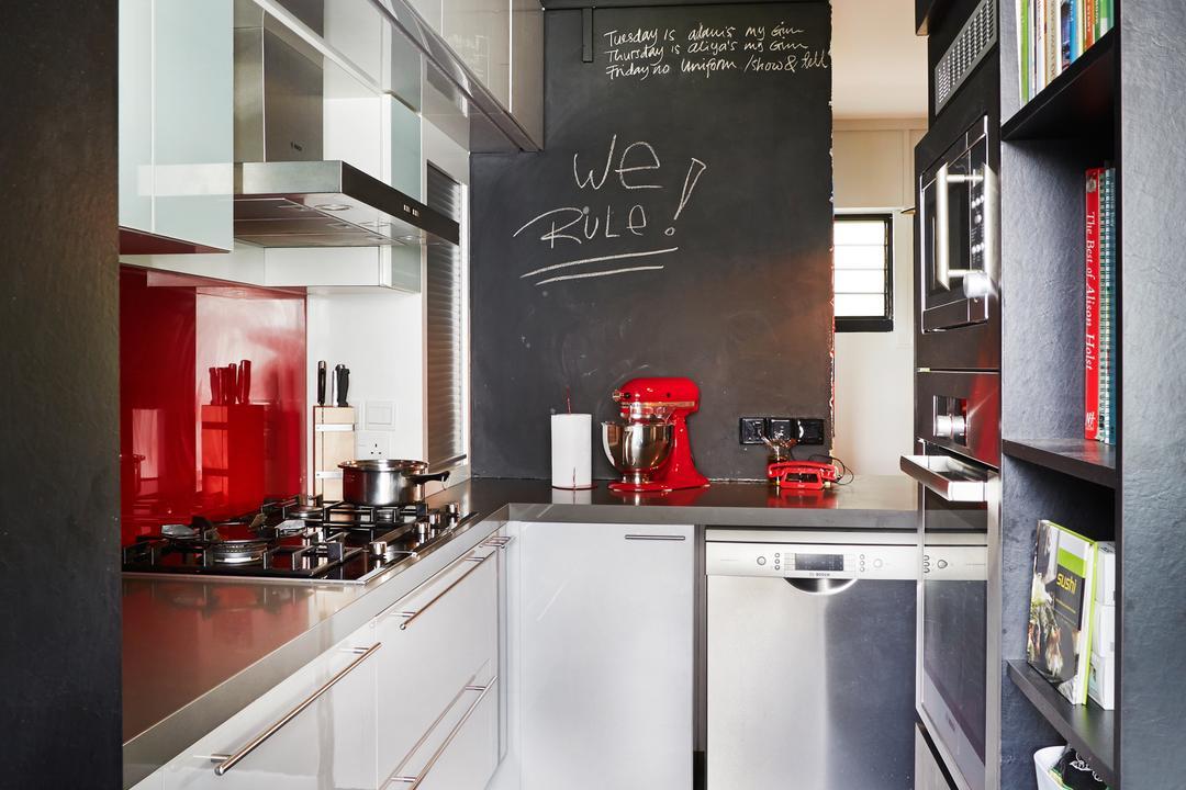 Sunset Way, Fuse Concept, Eclectic, Kitchen, HDB, Tiles, Monochrome, Black, Chalkboard, Backsplash, Red Backsplash, Cabinet In Kitchen, Bookcase In Kitchen, Appliance, Dishwasher, Electrical Device