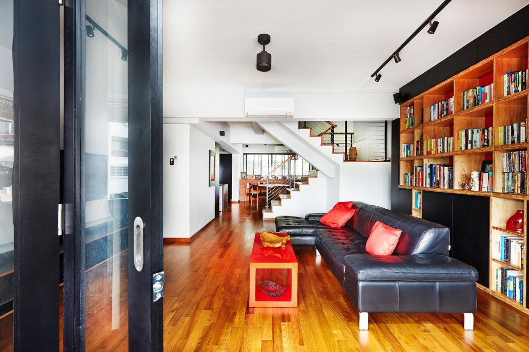 Sunset Way, Fuse Concept, Eclectic, Living Room, HDB, Wooden Flooring, Wood Flooring, Track Lightings, Bookshelf, Bookshelves, Storage, Book Display, Sliding Glass Doors, Couch, Furniture, Building, Housing, Indoors, Loft