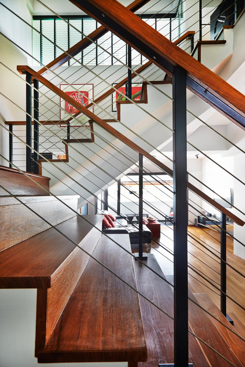 Eclectic, HDB, Living Room, Sunset Way, Interior Designer, Fuse Concept, Stairways, Wooden Stairs