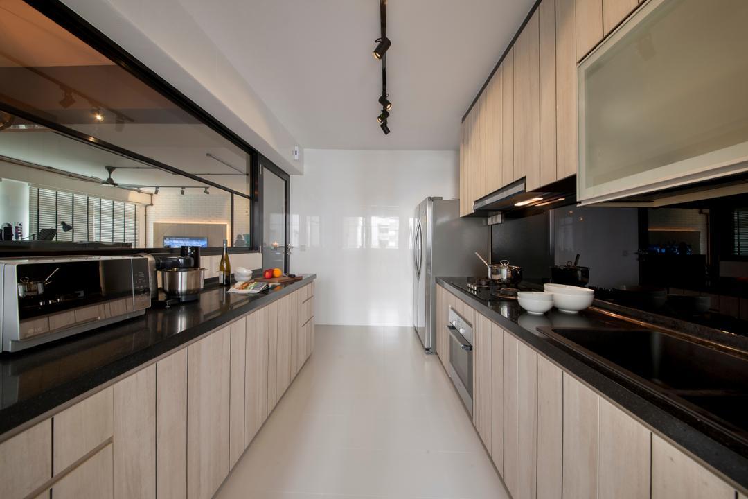 Rivervale, Edge Interior, Minimalistic, Scandinavian, Kitchen, HDB, Kitchen Track Light, Modern Kitchen, Carpentry, Built In Cupboard, Indoors, Interior Design