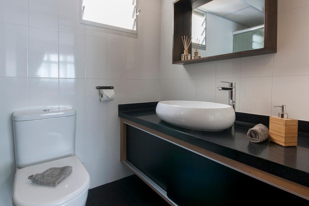 Rivervale, Edge Interior, Minimalistic, Scandinavian, Bathroom, HDB, Cosy, Mirror, Sink Countertop, Bowl Sink, Ceramic Tiles, Faucet, Toilet