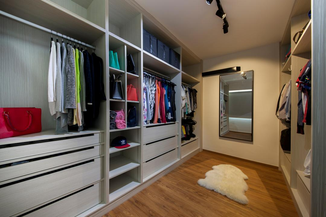 Rivervale, Edge Interior, Minimalistic, Scandinavian, Bedroom, HDB, Bedroom Wardrobe, Built In Wardrobe, Track Light, Shelves, Wooden Flooring, Wall Hanging Mirror, Closet, Furniture, Wardrobe, Appliance, Electrical Device, Microwave, Oven