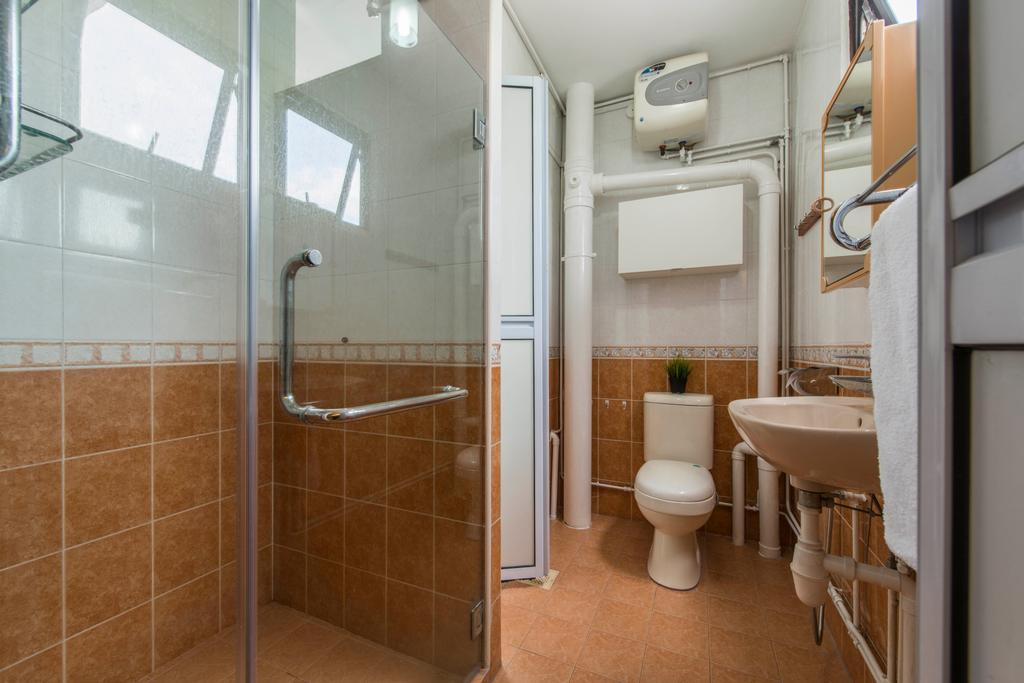 Modern, HDB, Bathroom, Tampines Street 41, Interior Designer, DreamCreations Interior, Swing Door, Heater, Wall Sink, Shower Glass Door, Hanging Mirror, Towel Hanger, Toilet, Indoors, Interior Design, Room, Banister, Handrail