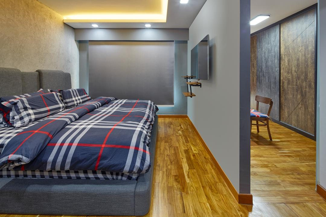 Punggol Drive (Block 666A), Absolook Interior Design, Industrial, Bedroom, HDB, False Ceiling, Roll Curtain, Wall Mounted Tv, Dove Lighting, Cove Lighting, Divider, Laminated Wooden Flooring, Downlights, Bed, Furniture, Flooring, American Flag, Emblem, Flag