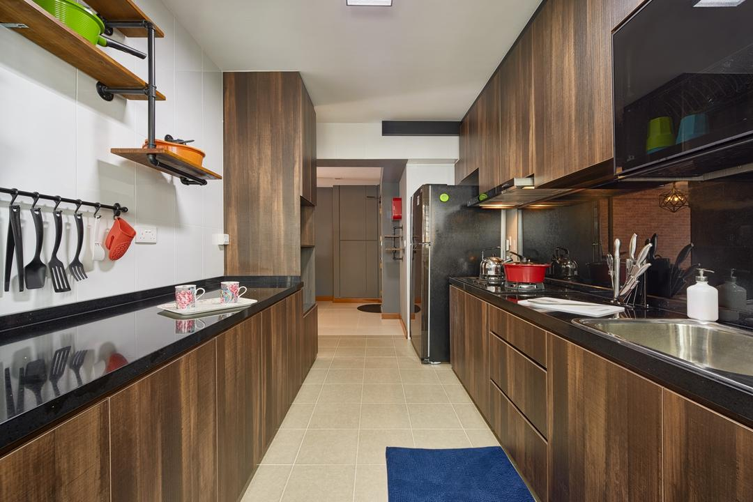 Punggol Drive (Block 666A), Absolook Interior Design, Industrial, Kitchen, HDB, Laminated Wood, Ceiling Light, Modern Contemporary Kitchen, Kitchenware, Indoors, Interior Design, Room, Flora, Jar, Plant, Potted Plant, Pottery, Vase