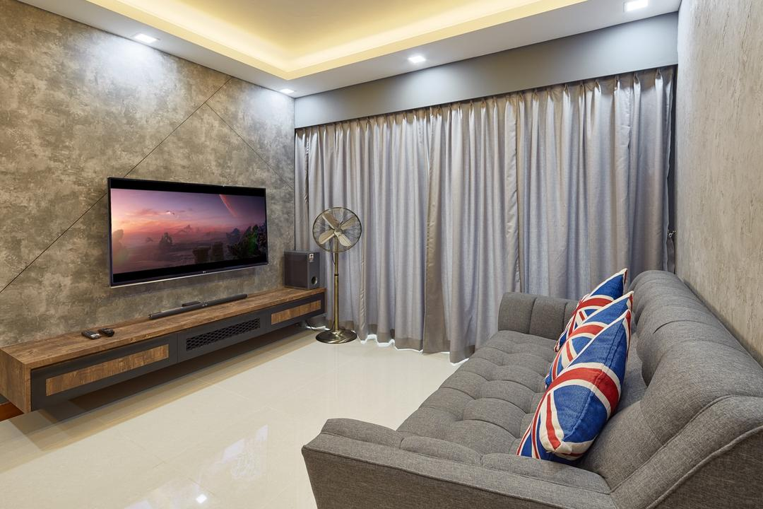 Punggol Drive (Block 666A), Absolook Interior Design, Industrial, Living Room, HDB, False Ceiling, Downlights, Wallpaper, Wall Mounted Tv, Industrial Standing Fan, Carpentry, Grey Wall, Modern Chesterfield Sofa, Cove Lighting, Couch, Furniture, Electronics, Entertainment Center, Home Theater