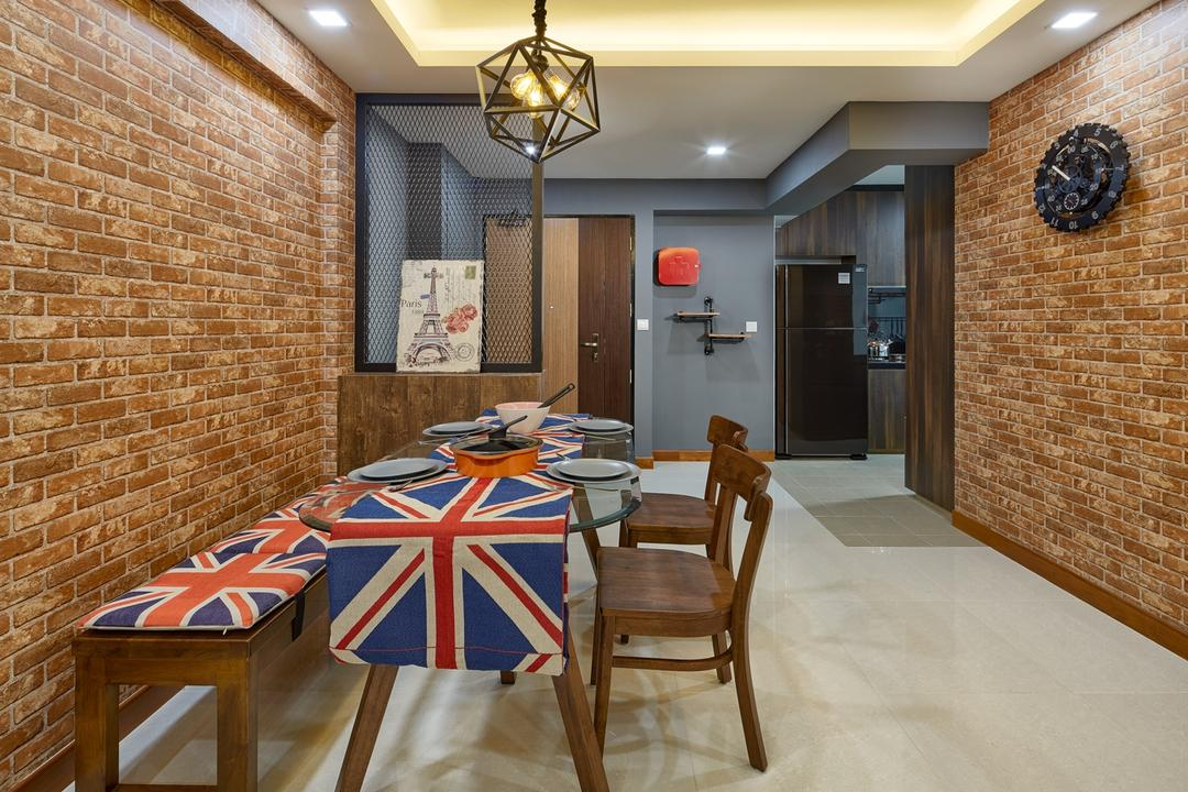 Punggol Drive (Block 666A), Absolook Interior Design, Industrial, Dining Room, HDB, False Ceiling, Brick Wall, Dining Bench, Uk Table Cloth, Pendant Lighting, Cove Lighting, Round Wall Clock, Chair, Furniture, Light Fixture, Indoors, Room, Interior Design, Bar Stool, Dining Table, Table