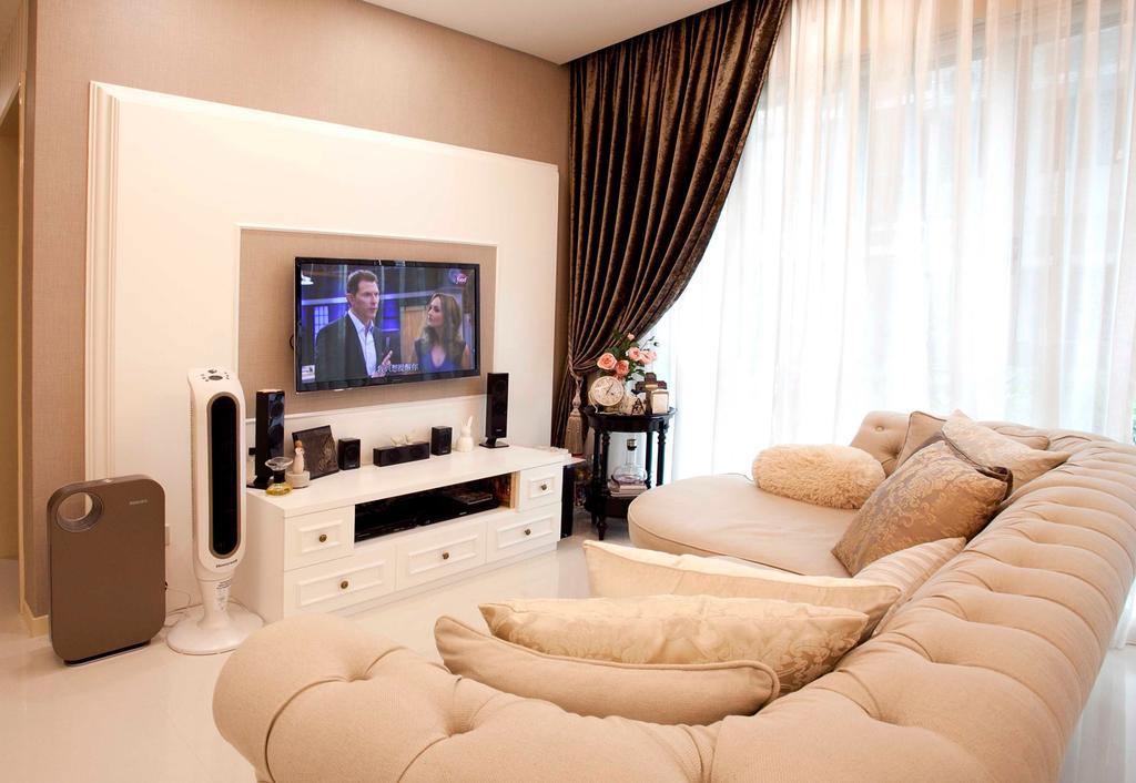Vintage, Condo, Living Room, 22 Mar Thoma Road Condo, Interior Designer, Voila, White Console, Curtain, Day Curtain, Night Curtain, Luggage, Suitcase