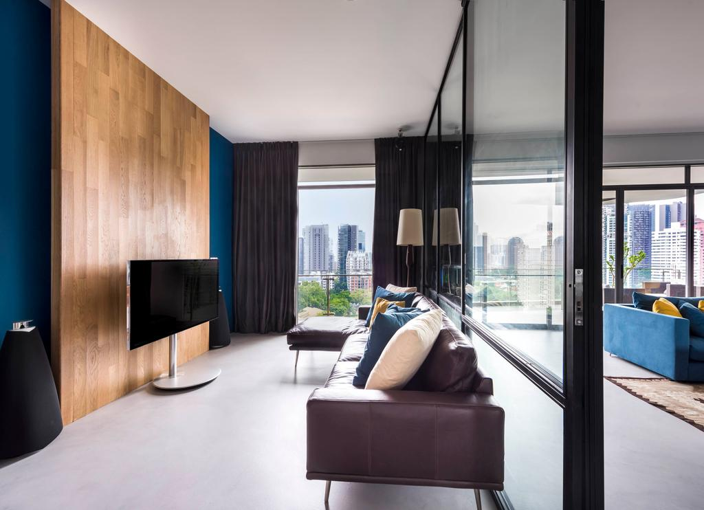 Contemporary, Condo, Study, Latitude, Interior Designer, Third Avenue Studio, Glass Partition, Black Framed Partition, Couch, Entertainment Room, Bose, Wooden Panel, Cobalt Blue Walls, Cobalt Blue, Entertainment System, Sound System, Speakers, Furniture, Chair
