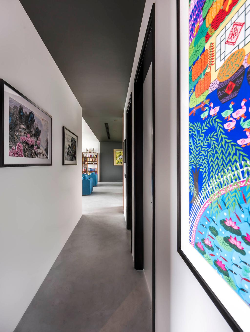 Contemporary, Condo, Latitude, Interior Designer, Third Avenue Studio, Hallway, Corridor, Walkway, Artworks, Art, Painting