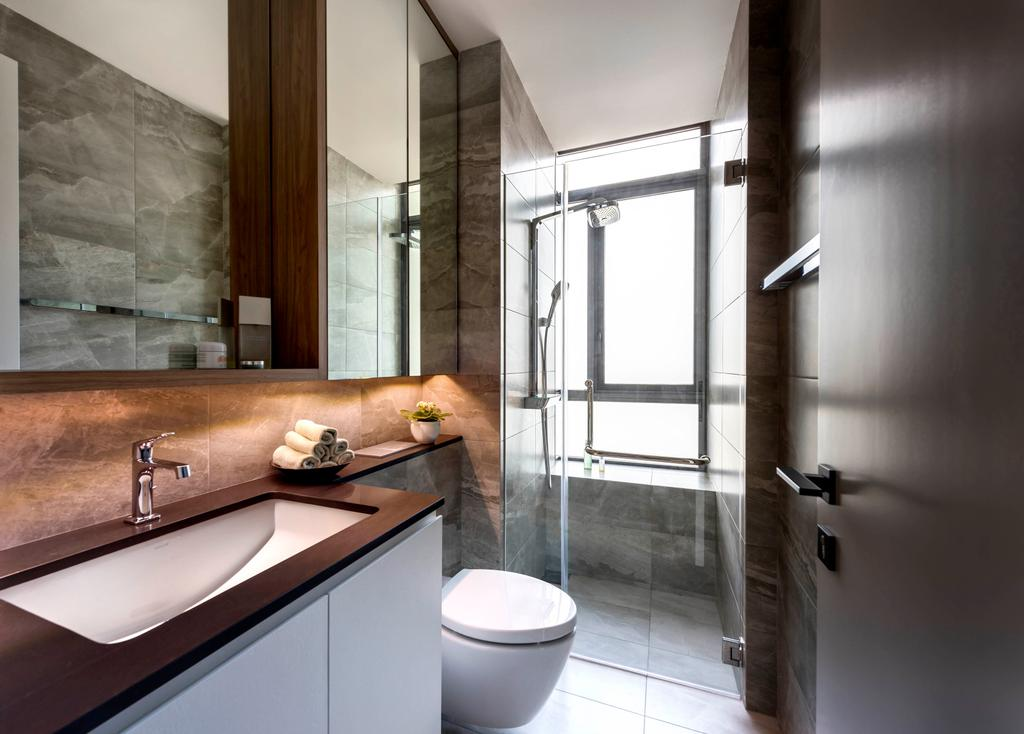 Contemporary, Condo, Bathroom, Latitude, Interior Designer, Third Avenue Studio, Common Bathroo, Tiles, Wooden Countertop, Hotel Style, Sleek, Sleek Design, Indoors, Interior Design, Room, Toilet