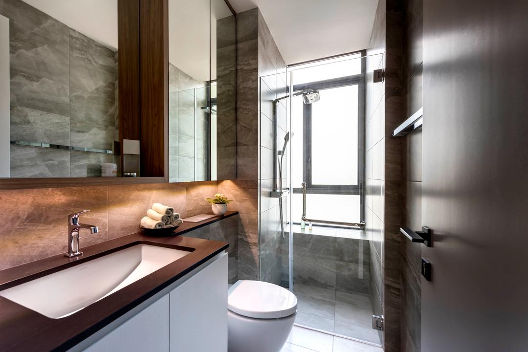 Latitude, Third Avenue Studio, Contemporary, Bathroom, Condo, Common Bathroo, Tiles, Wooden Countertop, Hotel Style, Sleek, Sleek Design, Indoors, Interior Design, Room, Toilet