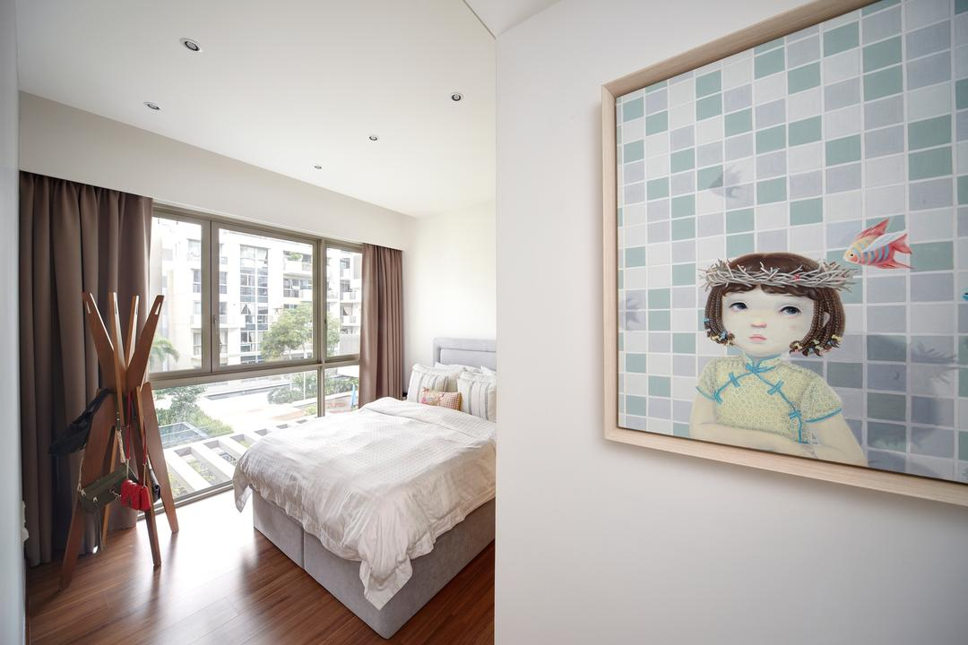Terrasse, Free Space Intent, Eclectic, Retro, Bedroom, Condo, Master Bedroom, Framed Artwork, Downlights, Wooden Flooring, Laminated Flooring, Human, People, Person, Indoors, Interior Design, Room, Doll, Toy