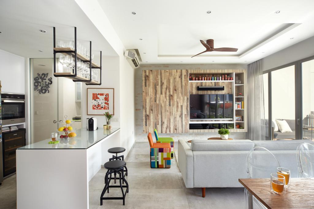 Eclectic, Condo, Kitchen, Terrasse, Interior Designer, Free Space Intent, Retro, Modern Kitchen, Wine Glass Rack, Industrial Chair, Electronics, Entertainment Center, Shelf, Indoors, Interior Design, Dining Room, Room, HDB, Building, Housing, Loft, Home Decor, Linen, Tablecloth