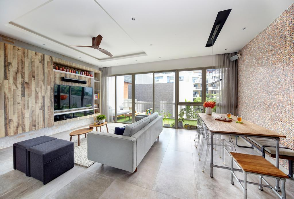 Eclectic, Condo, Living Room, Terrasse, Interior Designer, Free Space Intent, Retro, Electic Living Room, Industrial Dining Table, Industrial Dining Chair, False Ceiling, Wall Mounted Tv, Tv Wall Panel, Modern Sofa, Balcony, Feature Wall, Indoors, Interior Design, Dining Table, Furniture, Table, Couch
