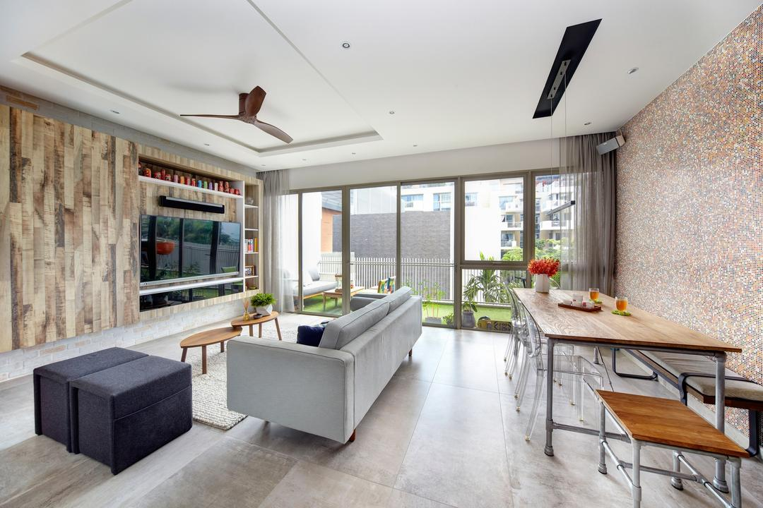 Terrasse, Free Space Intent, Eclectic, Retro, Living Room, Condo, Electic Living Room, Industrial Dining Table, Industrial Dining Chair, False Ceiling, Wall Mounted Tv, Tv Wall Panel, Modern Sofa, Balcony, Feature Wall, Indoors, Interior Design, Dining Table, Furniture, Table, Couch