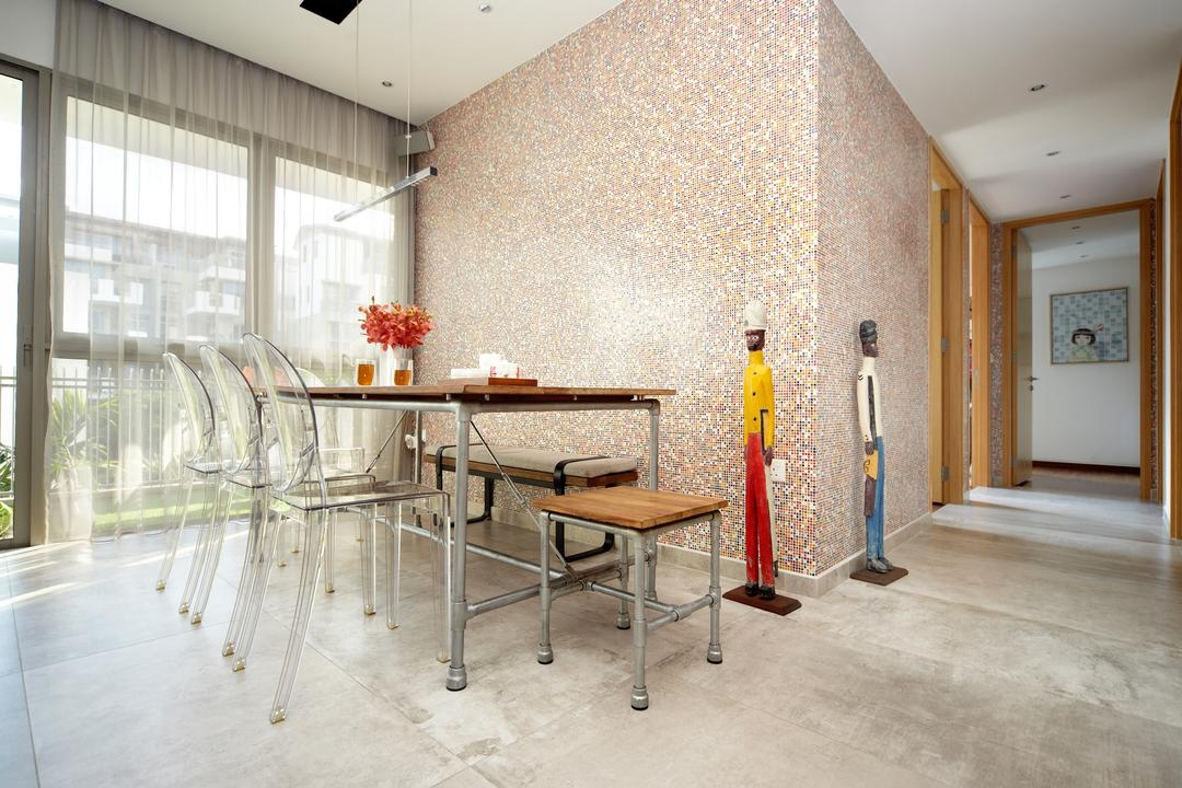 Terrasse, Free Space Intent, Eclectic, Retro, Dining Room, Condo, Eclectic Dining Room, Ghost Chair, Industrial Dining Table, Industrial Stool, Sling Curtain, Corridor, Cement Flooring, Chair, Furniture