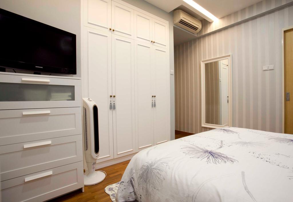 Vintage, Condo, Bedroom, 22 Mar Thoma Road Condo, Interior Designer, Voila, Wallpaper, Parquet, Bed, Furniture, Indoors, Interior Design, Room
