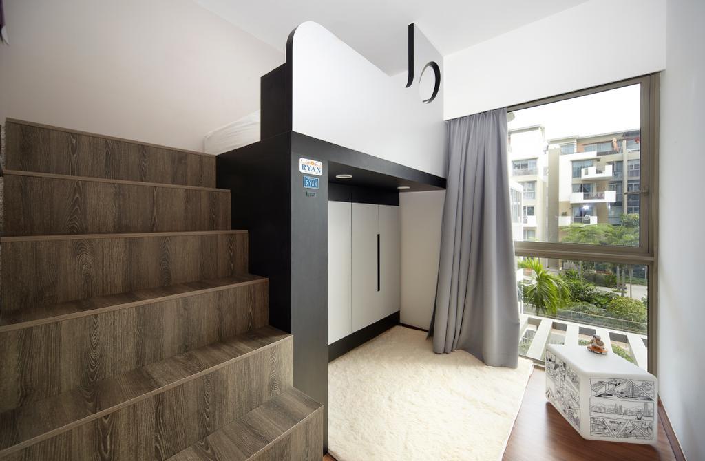 Eclectic, Condo, Bedroom, Terrasse, Interior Designer, Free Space Intent, Retro, Loft Bedroom, Loft Stairs, Curtain, Fluffly Carpet, Built In Cupboard, Logo, Trademark