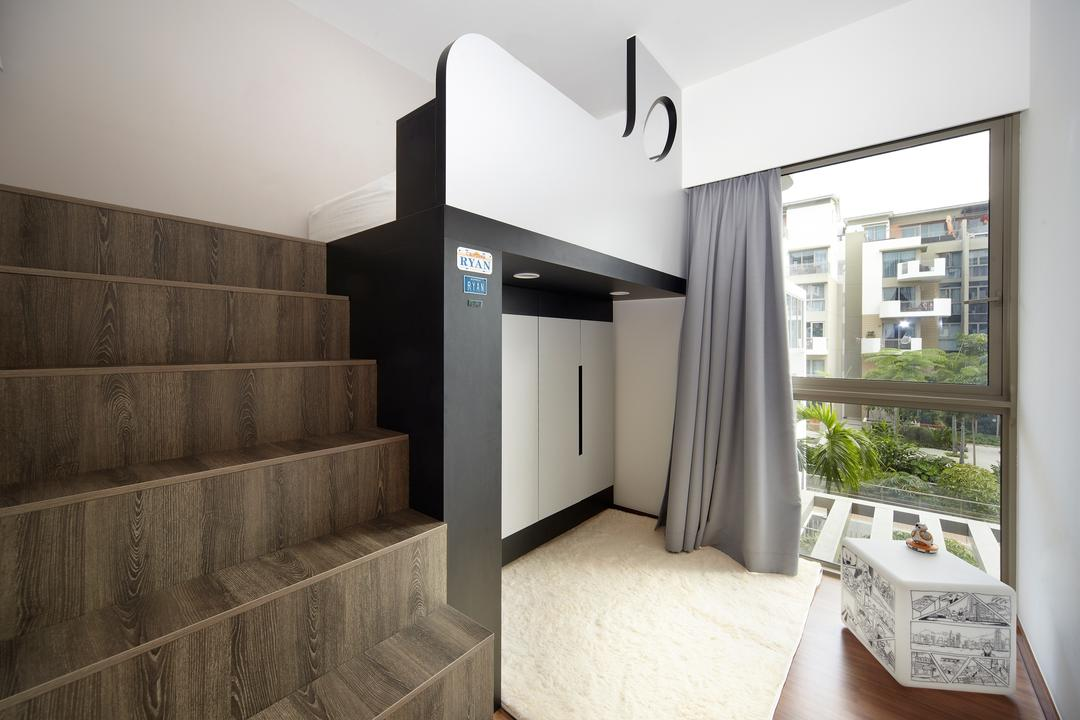 Terrasse, Free Space Intent, Eclectic, Retro, Bedroom, Condo, Loft Bedroom, Loft Stairs, Curtain, Fluffly Carpet, Built In Cupboard, Logo, Trademark