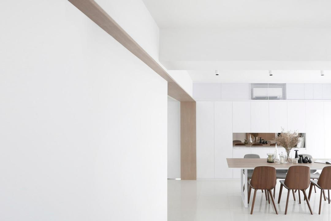 No.9, 0932 Design Consultants, Modern, Dining Room, Condo, Plain White Scheme, Wooden Chair, Dining Table, Recessed Lights, Furniture, Table, HDB, Building, Housing, Indoors, Loft