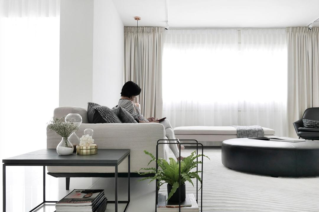 No.9, 0932 Design Consultants, Modern, Living Room, Condo, Spacious, Curtains, Sofa, Circular Table, Neutral Colours, White Scheme, Human, People, Person, Dining Table, Furniture, Table, Flora, Jar, Plant, Potted Plant, Pottery, Vase, Balcony