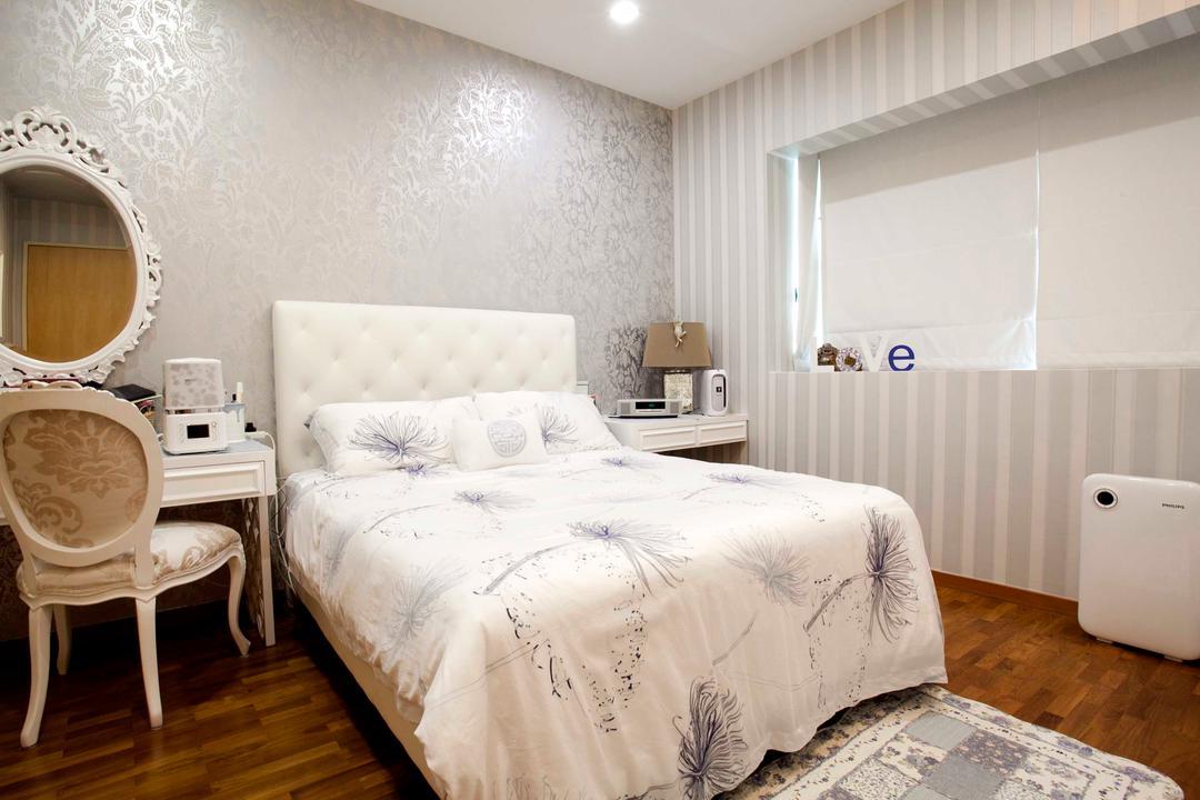 22 Mar Thoma Road Condo, Voila, Vintage, Bedroom, Condo, Wallpaper, Wall Paper, Parquet, Headboard, Antique Mirror, Bed, Furniture, Chair, Indoors, Interior Design, Room