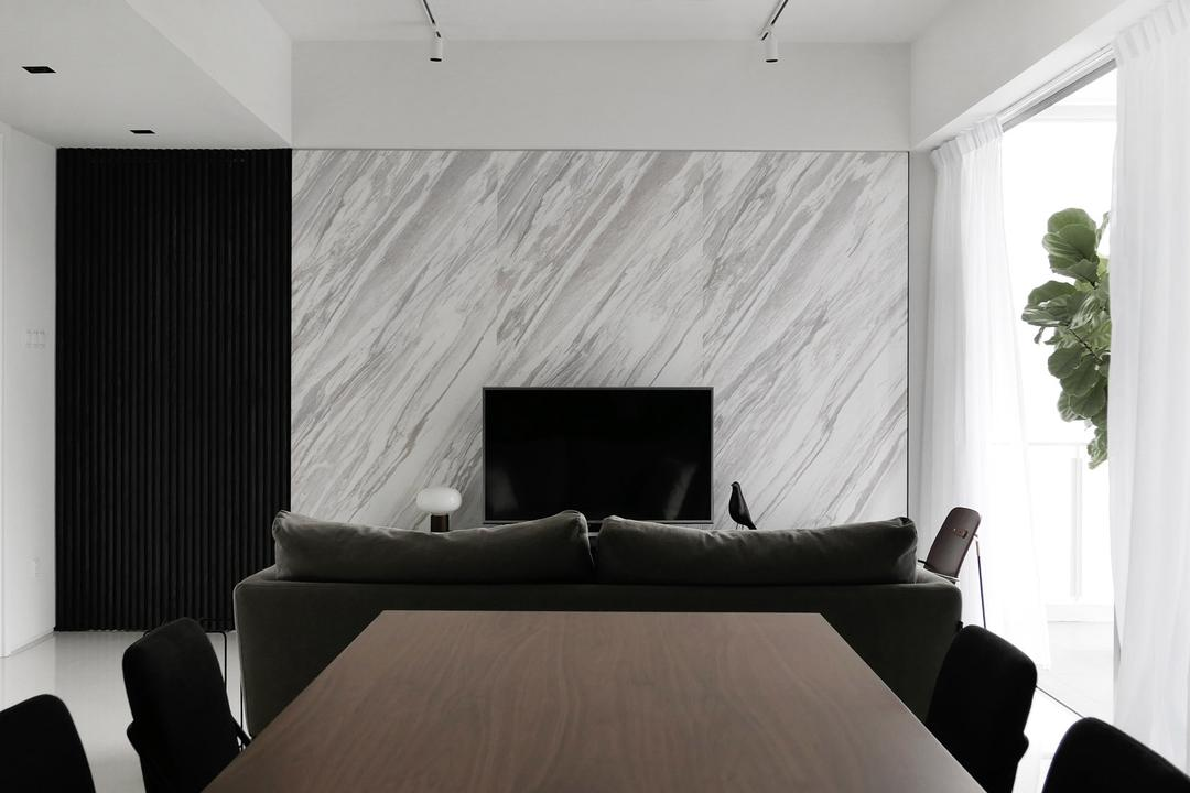 The Acacias, 0932 Design Consultants, Modern, Dining Room, Condo, Wooden Dining Table, Monochrome, Black Dining Chairs, Marble Wall, Couch, Furniture, Indoors, Room