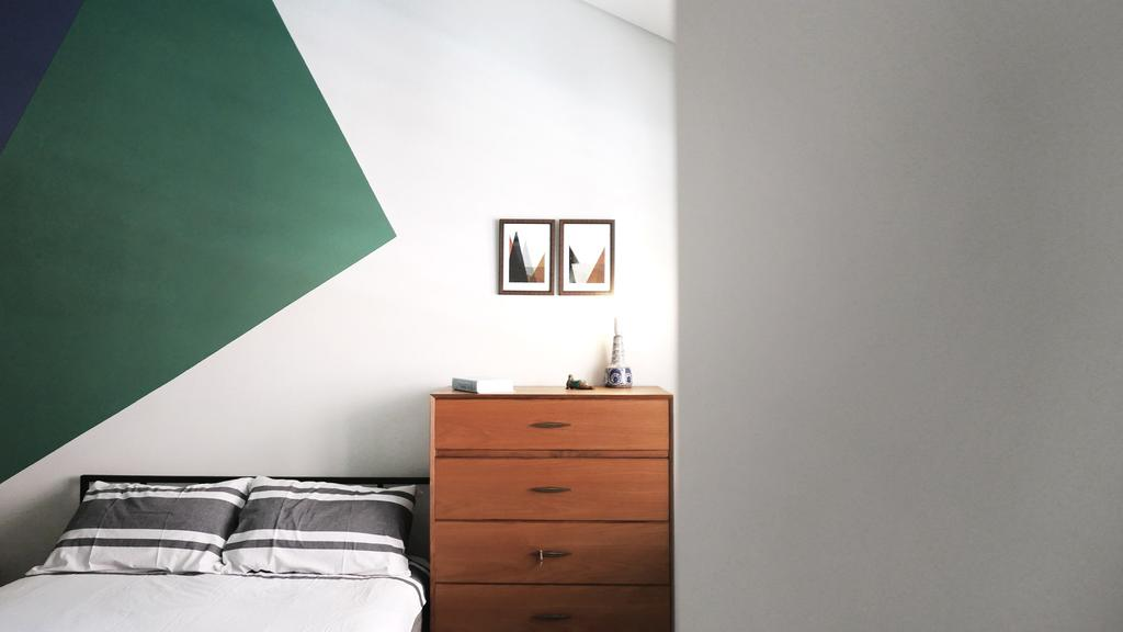Modern, HDB, Bedroom, HOLA, Architect, 0932 Design Consultants, Minimalistic, Wooden Drawer, Picture Frame, Bed, Indoors, Interior Design, Room, Mirror