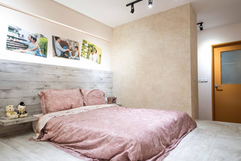 Industrial, HDB, Bedroom, Anchorvale (Block 333A), Interior Designer, DreamCreations Interior, Low Bed, Bedside Table, Wall Ar, Photos, Black Track Light, Trackie, Track Lighting, Wallpaper, Art, Mural, Painting, Indoors, Interior Design, Room, Bed, Furniture, Art Gallery