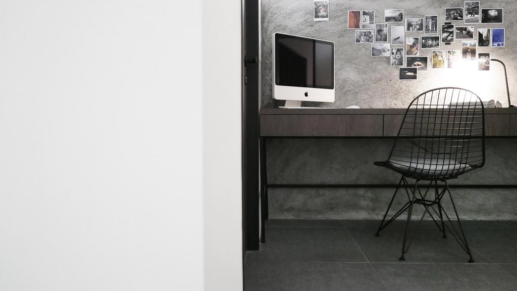 Modern, HDB, Study, HOLA, Architect, 0932 Design Consultants, Minimalistic, Acapulco Chair, Monochrome, Study Area, Workspace, Work Space, Chair, Furniture, Collage, Poster