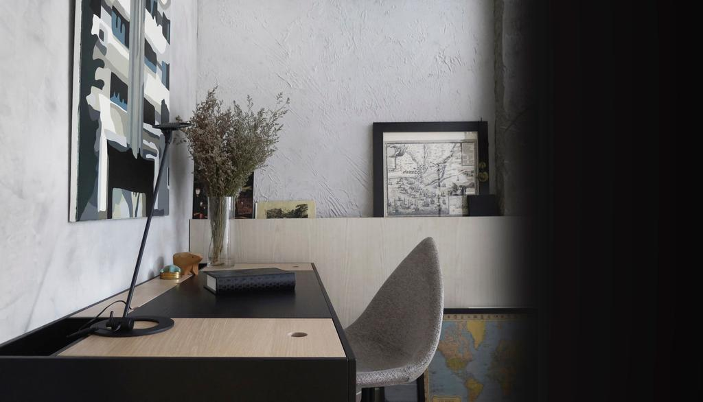 Modern, HDB, Study, 10PM, Architect, 0932 Design Consultants, Monochrome, Study Area, Workplace, Work Place, Chair, Furniture, Flora, Jar, Plant, Potted Plant, Pottery, Vase, Dining Room, Indoors, Interior Design, Room