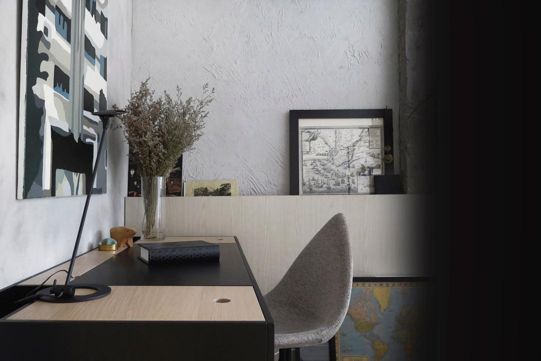 10PM, 0932 Design Consultants, Modern, Study, HDB, Monochrome, Study Area, Workplace, Work Place, Chair, Furniture, Flora, Jar, Plant, Potted Plant, Pottery, Vase, Dining Room, Indoors, Interior Design, Room