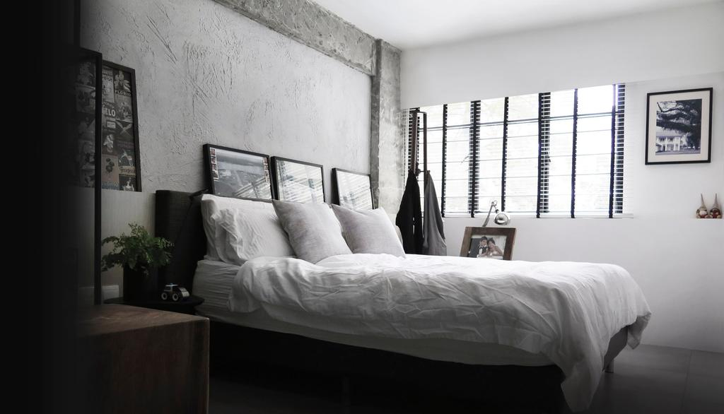 Modern, HDB, Bedroom, 10PM, Architect, 0932 Design Consultants, King Size Bed, Picture Frame, Cozy, Screeding, Cement Screed, Raw Look, Flora, Jar, Plant, Potted Plant, Pottery, Vase