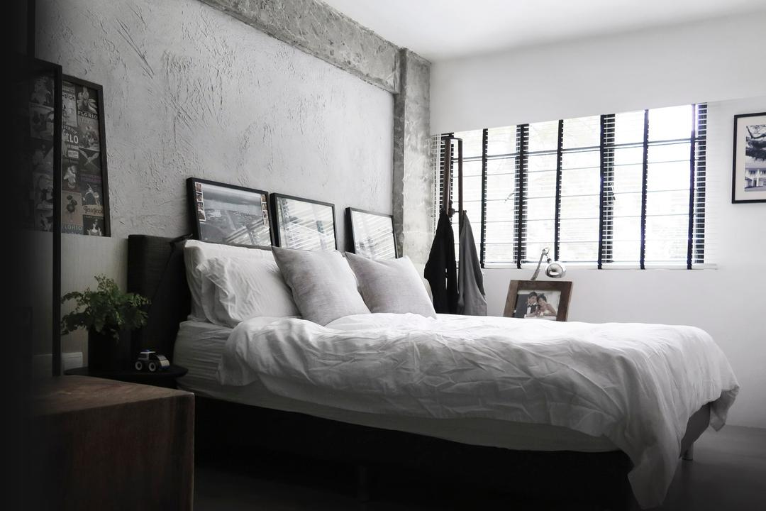10PM, 0932 Design Consultants, Modern, Bedroom, HDB, King Size Bed, Picture Frame, Cozy, Screeding, Cement Screed, Raw Look, Flora, Jar, Plant, Potted Plant, Pottery, Vase