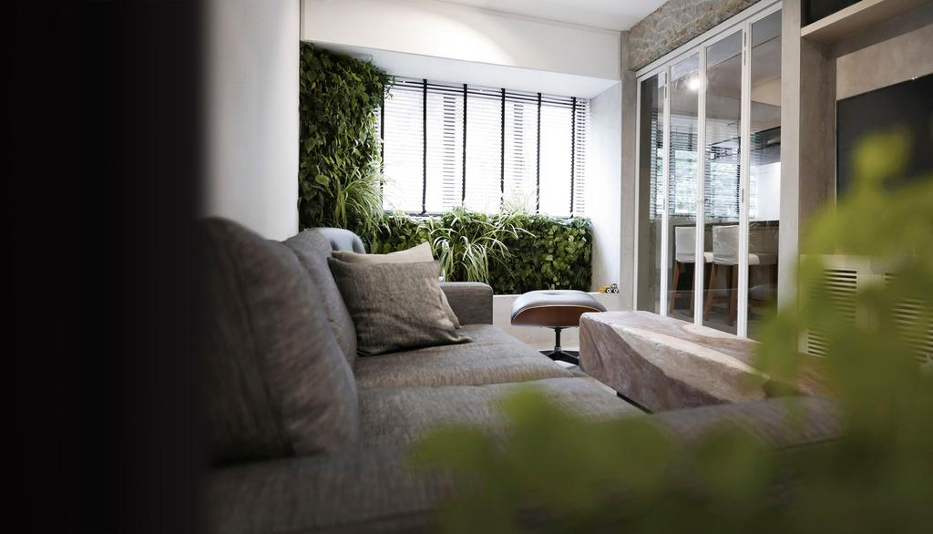 Modern, HDB, Living Room, 10PM, Architect, 0932 Design Consultants, Cabinet With Glass Panels, Cozy, Sofa, Sliding Door, Cosy, Flora, Jar, Plant, Potted Plant, Pottery, Vase, Couch, Furniture, Balcony