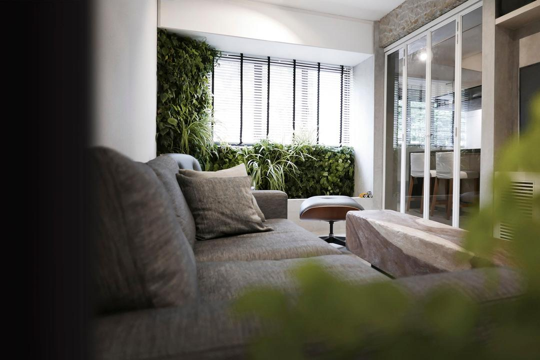 10PM, 0932 Design Consultants, Modern, Living Room, HDB, Cabinet With Glass Panels, Cozy, Sofa, Sliding Door, Cosy, Flora, Jar, Plant, Potted Plant, Pottery, Vase, Couch, Furniture, Balcony