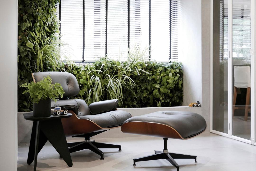 10PM, 0932 Design Consultants, Modern, Balcony, HDB, Lounge Chair, Plants, Mini Garden, Garden, Flora, Jar, Plant, Potted Plant, Pottery, Vase, Chair, Furniture