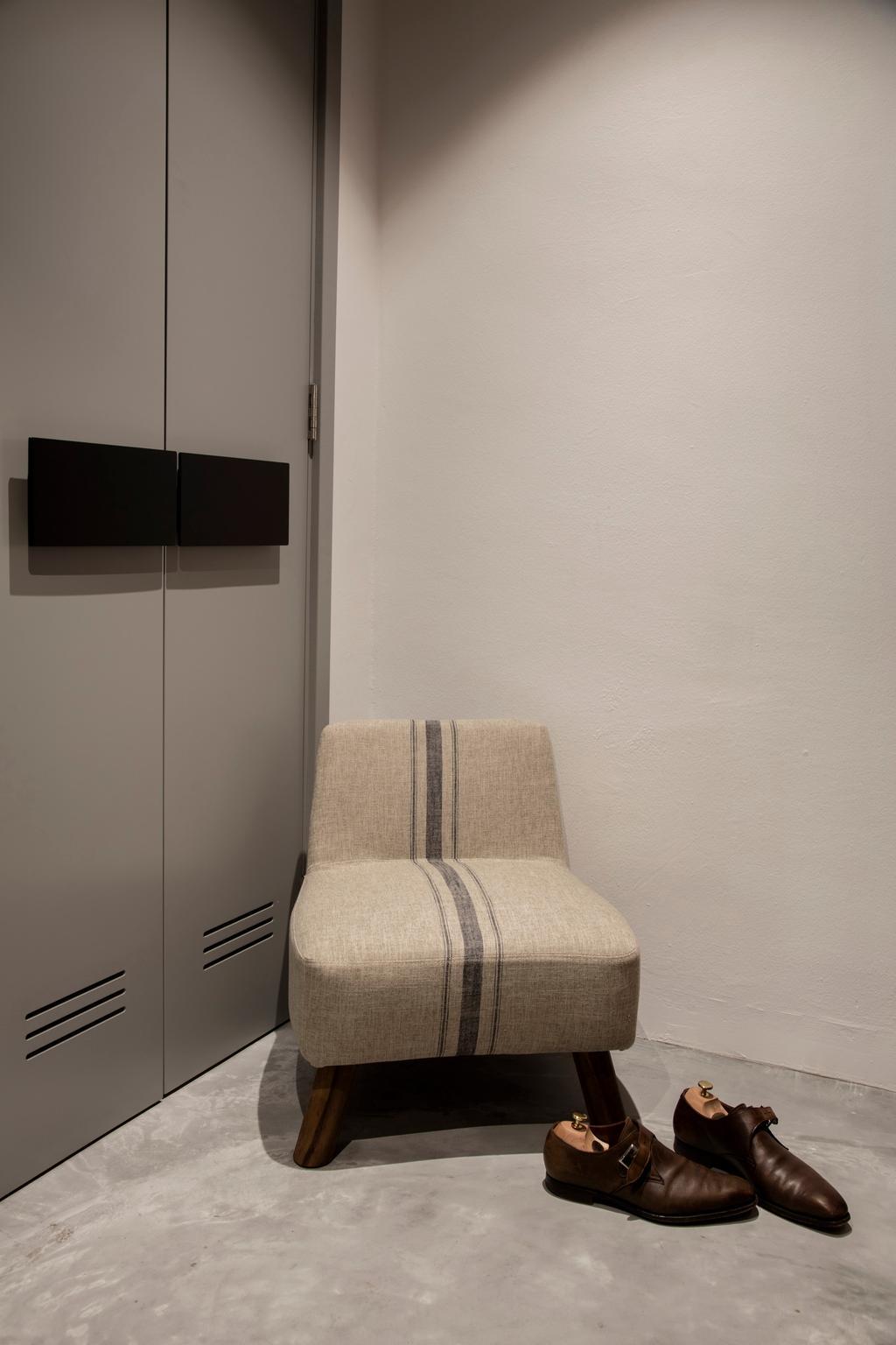 Modern, Condo, Bedroom, Duchess Road (Block 85), Interior Designer, Hall Interiors, Contemporary, Shoe Cabinet, Porch, Chair, Furniture, Home Decor, Linen