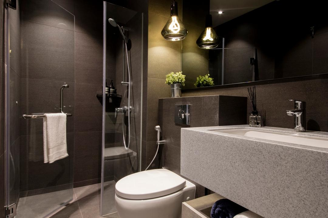 Duchess Road (Block 85), Hall Interiors, Modern, Contemporary, Bathroom, Condo, Modern Contemporary Bathroom, Contemporary Toilet Bowl, In Wall Flushing System, Pendant Lighting, Sink Countertop, Built In Mirror, Flora, Jar, Plant, Potted Plant, Pottery, Vase, Indoors, Interior Design, Room, Toilet