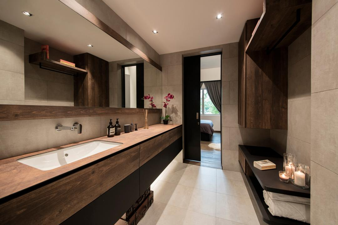 Duchess Road (Block 85), Hall Interiors, Modern, Contemporary, Bathroom, Condo, Sink Countertop, Downlights, Built In Mirror, Carpentry, Wall Faucet, Sunken Sink, Hotel, Suite, Indoors, Interior Design, Jacuzzi, Tub