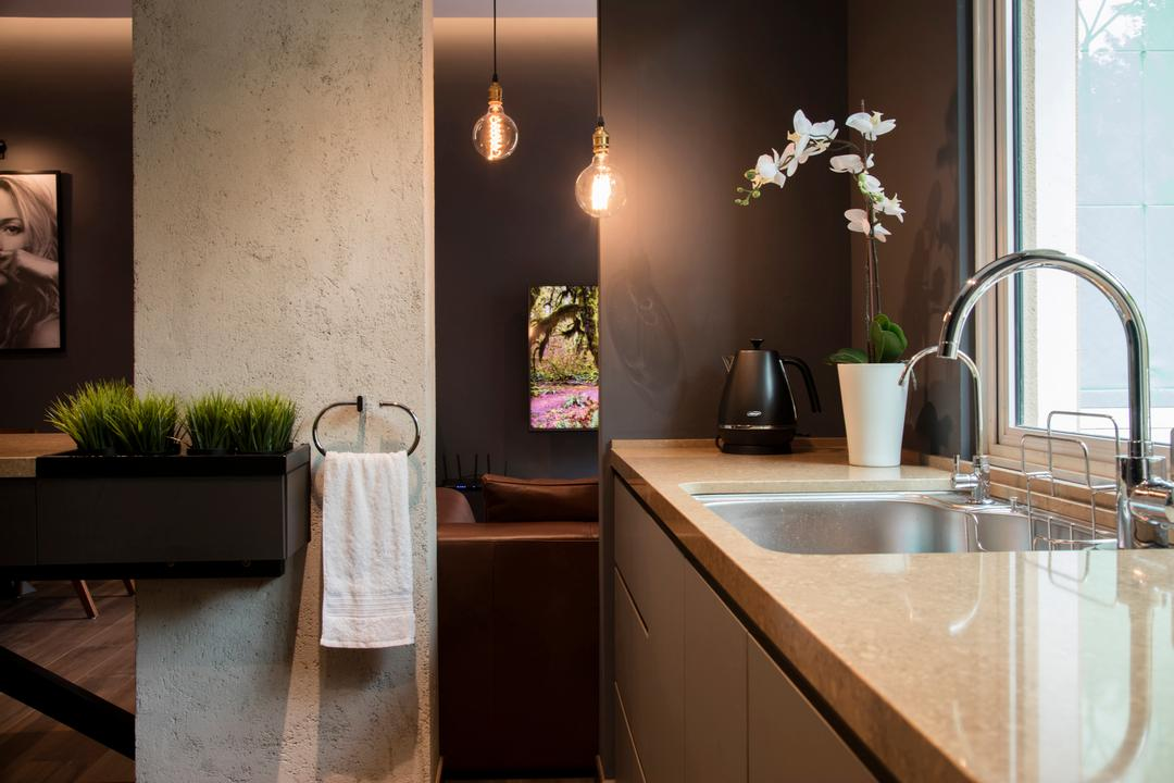 Duchess Road (Block 85), Hall Interiors, Modern, Contemporary, Kitchen, Condo, Modern Kitchen, Pendant Lighting, Dark Grey Wall, Laminated Countertop, Kitchen Faucet, Towel Hanger, Cement Wall, Fake Grass Decor, Flora, Jar, Plant, Potted Plant, Pottery, Vase, Sink, Dining Room, Indoors, Interior Design, Room