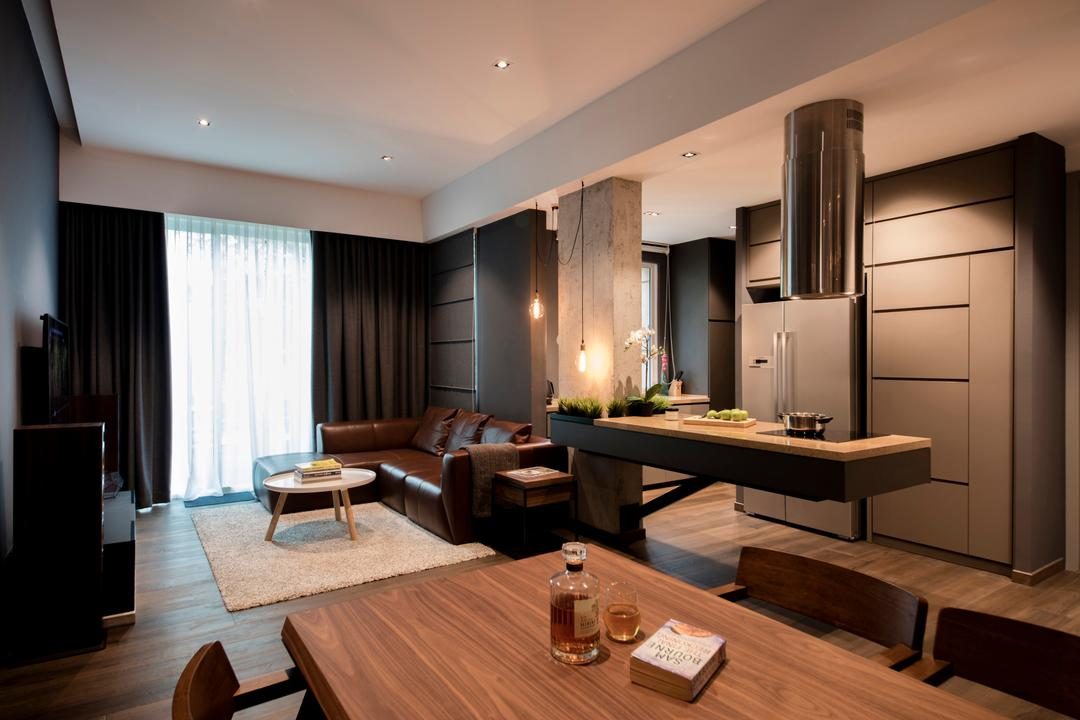 Duchess Road (Block 85), Hall Interiors, Modern, Contemporary, Living Room, Condo, Pendant Lighting, Scandinavian Dining Set, Built In Cupboard, Cement Wall, False Ceiling, Downlights, Dark Grey Wall, Beam, Couch, Furniture, Dining Table, Table, Flooring, Indoors, Interior Design, Dining Room, Room
