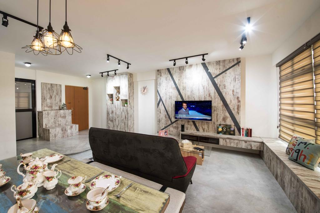Industrial, HDB, Living Room, Anchorvale (Block 333A), Interior Designer, DreamCreations Interior, Feature Wall, Hanging Light, Blinds, Track Lighting, Black Track Light, Trackie, White Walls, Bay Window, Light Fixture, Couch, Furniture, Art, Porcelain, Pottery