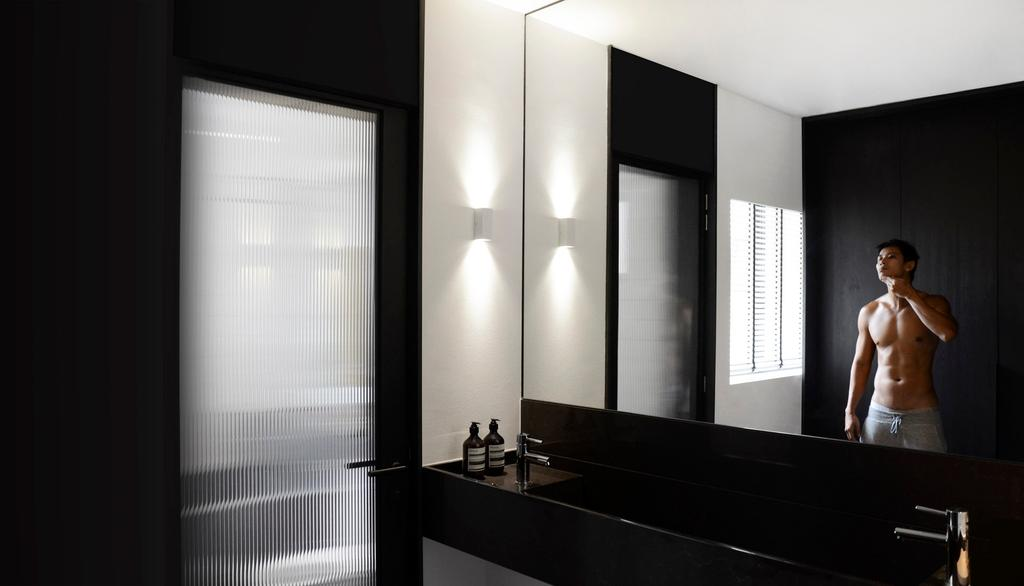 Modern, HDB, Bathroom, ASFS, Architect, 0932 Design Consultants, Wall Mounted Light, Monochrome, Black Marble Sink, Classy, Human, People, Person, Man