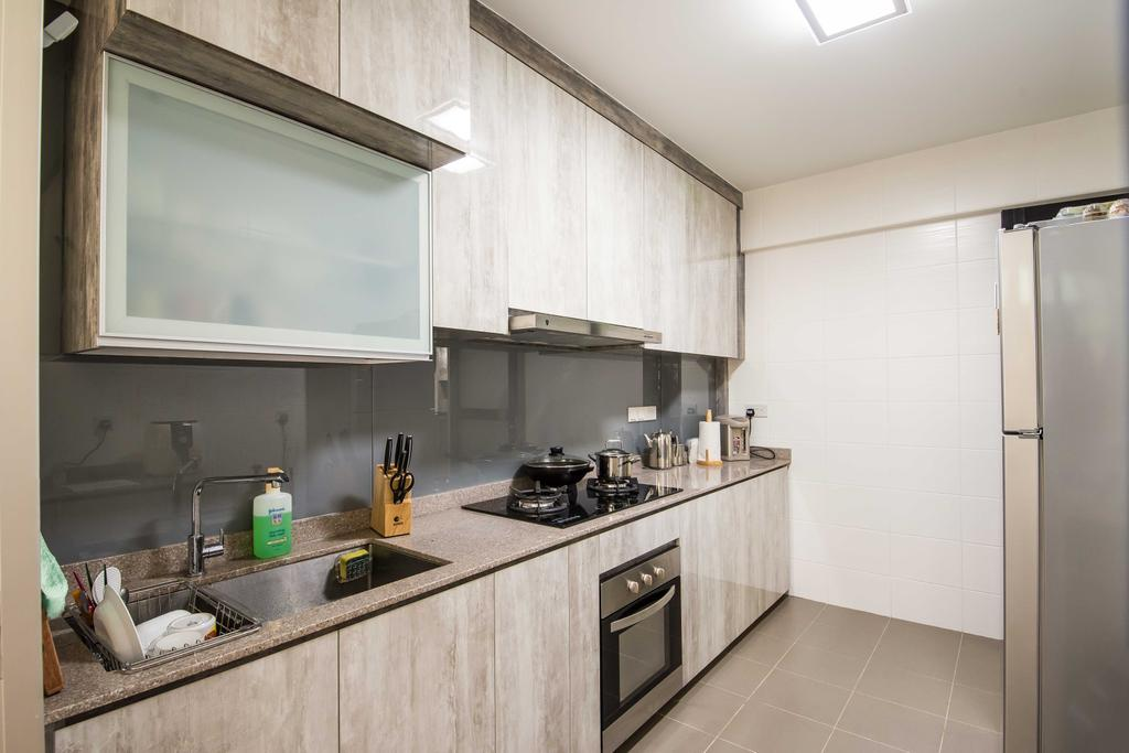 Industrial, HDB, Kitchen, Anchorvale (Block 333A), Interior Designer, DreamCreations Interior, Wood Laminate, Kitchen Tiles, Counter Top, Table, Indoors, Interior Design, Room, Sink