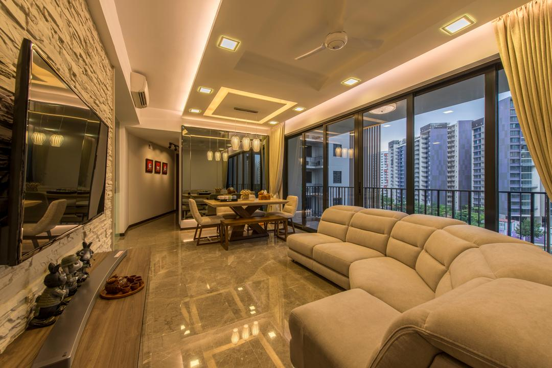River Isle, Innerspace Design Solutions, Contemporary, Living Room, Condo, Contemporary Living Room, False Ceiling, Cove Lighting, Marble Flooring, Downlights, Floating Console, Multi Pendant Lighting, Balcony, Wall Mounted Tv, Feature Wall, Sectional Sofa, Dining Bench, Couch, Furniture, Indoors, Room